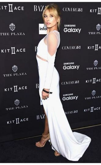 dress white white dress slit dress hailey baldwin gown prom dress sandals