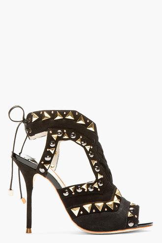 stud high heels shoes gold women black riko