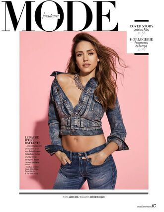 jacket denim jeans jessica alba cropped jacket editorial necklace jewels jewelry
