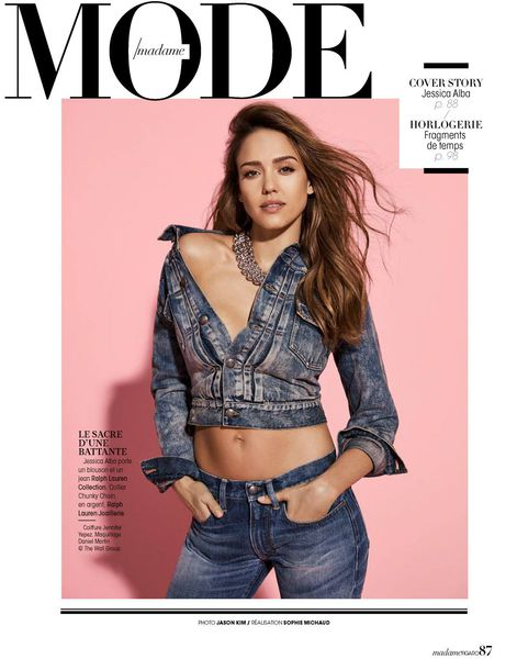 jacket denim jeans jessica alba cropped jacket necklace jewels jewelry