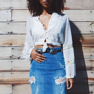 skirt nastygal denim pencils ripped vintage one teaspoon festival style fashion melrose blue blue jeans cut offs