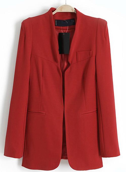 Red Long Sleeve Shoulder Pads Pockets Blazers - Sheinside.com