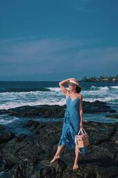 hallie daily,blogger,dress,hat,jewels,bag,sunglasses,summer dress,blue dress,maxi dress,beach