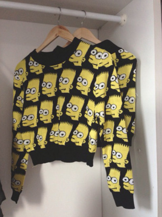 sweater blouse black and yellow the simpsons bart simpson