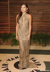 dress,selena gomez,gold,sheer,formal dress,long dress,sparkle