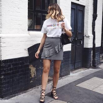 t-shirt tumblr white t-shirt skirt mini skirt gingham gingham skirt ruffle ruffle skirt sandals mid heel sandals black sandals shoes
