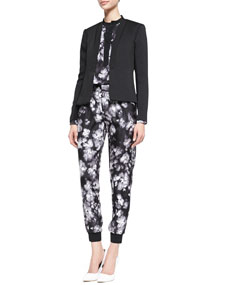 Rebecca Taylor Structured Open-Front Jacket, Long Sleeve Ghost Flower Top & Ghost Flower Pants - Neiman Marcus