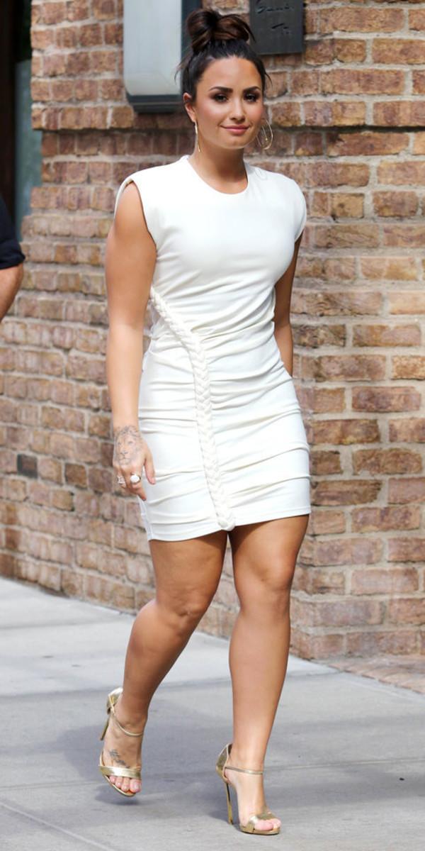 dress, mini dress, bodycon dress, white dress, demi lovato ...