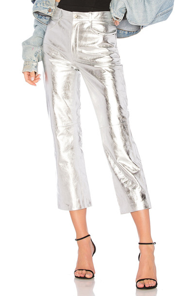 LPA pants metallic silver