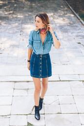 prosecco and plaid,blogger,denim skirt,denim shirt,button up skirt,silk scarf,button up denim skirt,buttoned skirt