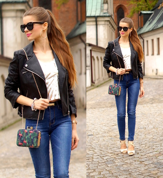 only my fashion style blogger jacket top jeans shoes bag jewels