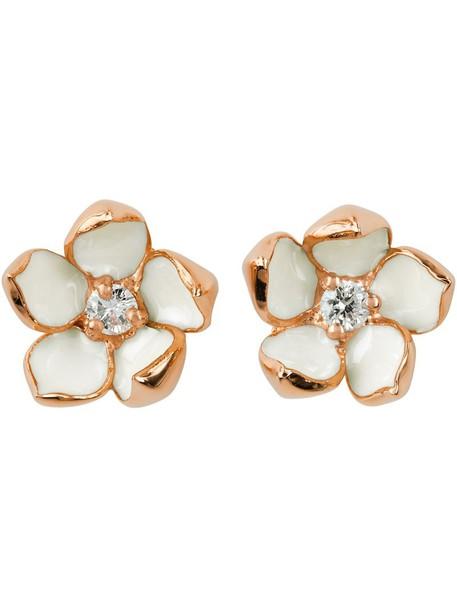 cherry women earrings silver white jewels