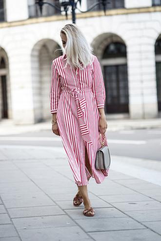 dress tumblr red dress stripes striped dress midi dress shirt dress shoes slide shoes bag handbag