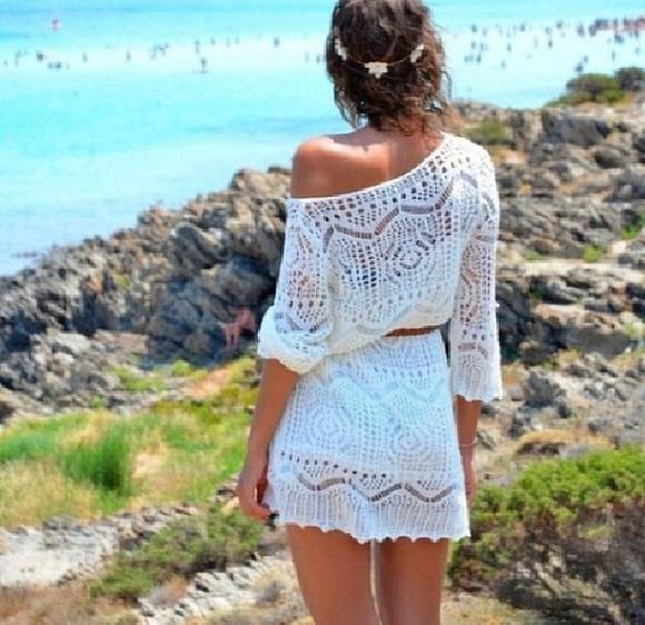 dress crochet whitedress white dress offshoulder beach dress white, off-shoulder, crochet