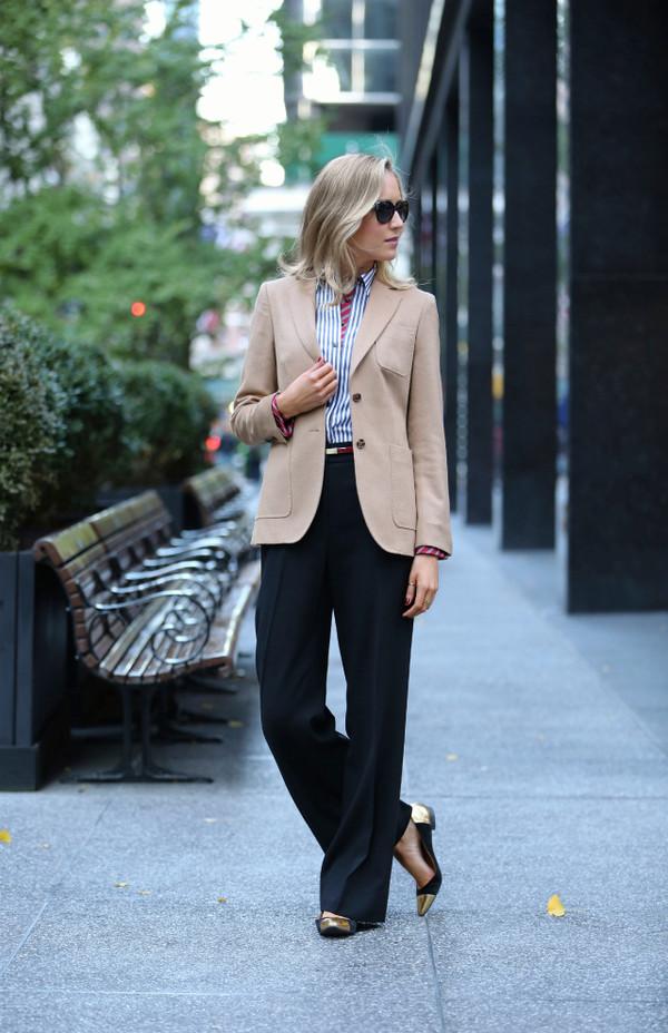 the classy cubicle jacket shirt pants belt shoes sunglasses
