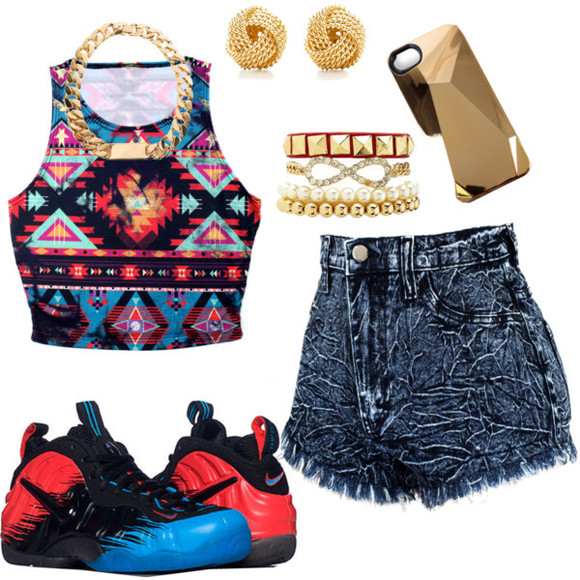 jewels chain necklace top style trill dope pearls short shorts acid wash aztec Jewlery nike