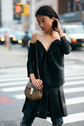 shine by three,blogger,bag,top,jeans,pleated skirt,skirt,black off shoulder top,off the shoulder,off the shoulder top,long sleeves,chloe bag,chloe,green bag,shoulder bag,black top,black skirt