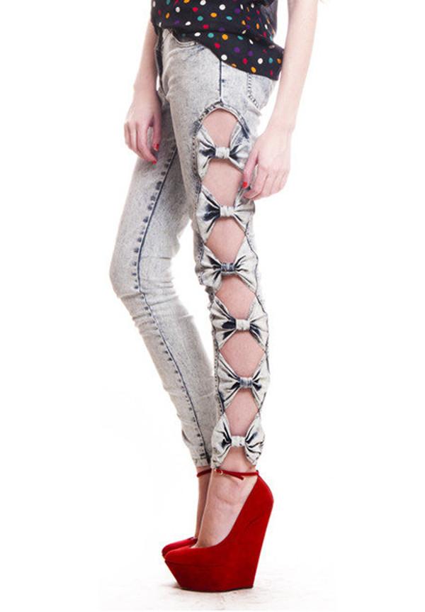 Ebay Vintage Mode Femme Bow Side D 233 Coupe Ripped Leggings