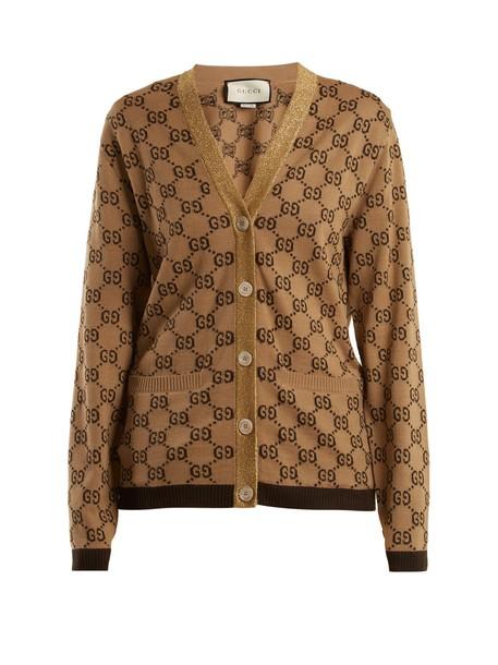 cardigan cardigan jacquard wool beige sweater