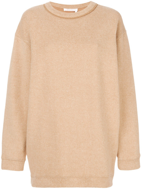 See by Chloe sweatshirt oversized women nude cotton sweater