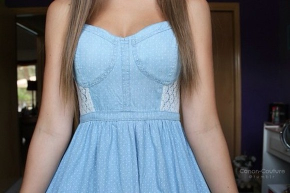 tumblr cute instagram dress lace tumblr girl denim chambray polka dots pretty