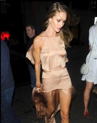 dress nude sheer silk thigh slit high neck halter halter dress train