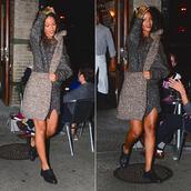 sweteredress,sweater,dress,rihanna,fashion week 2014,streetstyle,bag,shoes