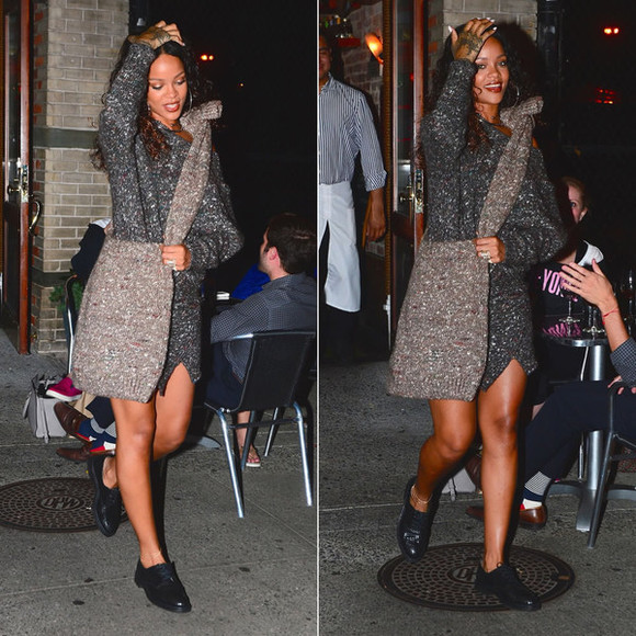 rihanna fashion week 2014 dress sweteredress sweater streetstyle bag shoes