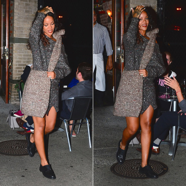 sweteredress sweater dress rihanna fashion week 2014 streetstyle bag shoes