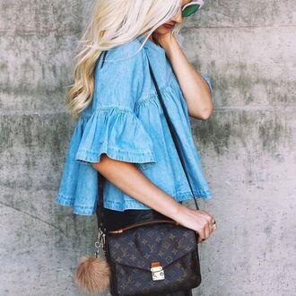 top tumblr blue top denim top ruffled top ruffle louis vuitton louis vuitton bag bag accessoires fur keychain
