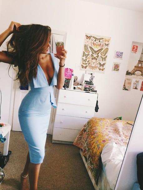 dress sexy peplum dress deep v dress midi light blue low cut crepe pastel blue dress this light blue dress