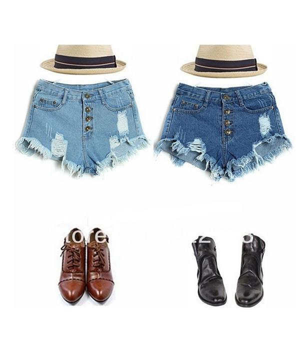 Vintage high waist button hole short jeans