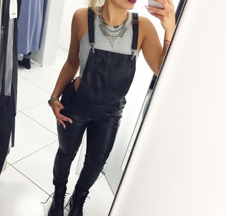 jumpsuit black leather overall