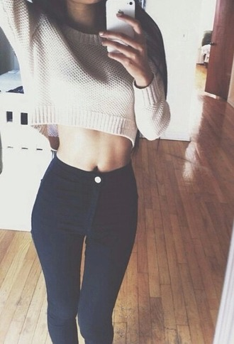 sweater high waisted jeans blue skinny jeans beige sweater fashion cocooning weheartit cute sweaters jeans