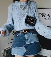 sweater,blue sweater,knitwear,knit,knitted sweater,skirt,mini skirt,patchwork,denim skirt,belt,gucci,bag