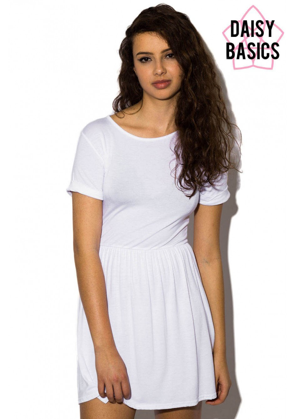 fe6efd74c7dd Maryann Basic T-shirt Skater Dress In White