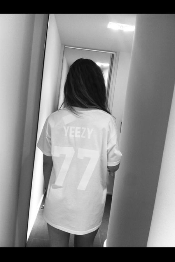 shirt white kanye west t-shirt top yeezy concert yeezuz jersey 77 kanye west