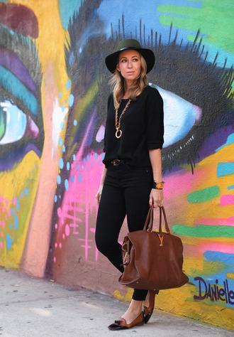 bag leather bag blogger hat jewels belt brooklyn blonde loafers