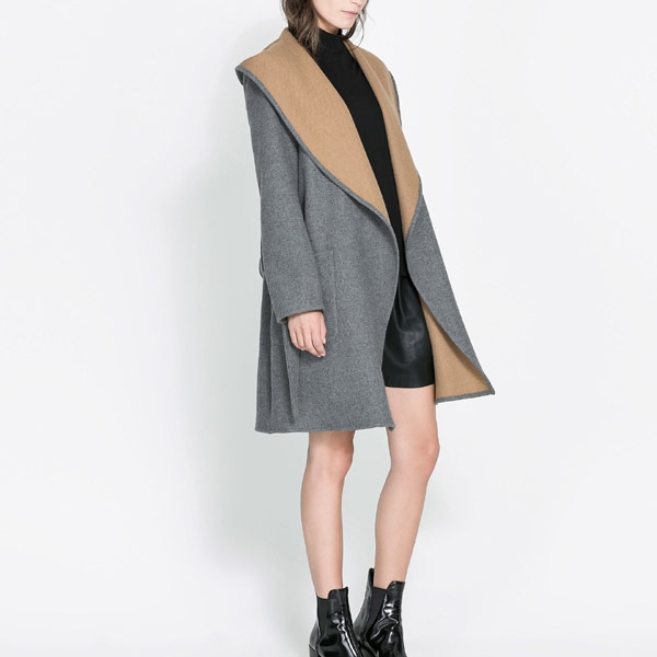 Hooded Big Collar Belt Decorate Long Wool Women's Grey Coat