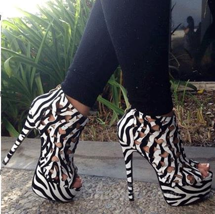 Fashionable Zebra Print Cut-Outs Coppy Leather High Heel Ankle Boots