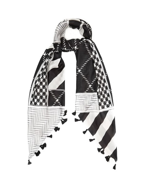 WEEKEND MAX MARA geometric scarf silk scarf print silk black