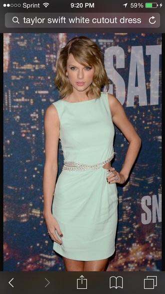 dress mint dress rhinestone waist taylor swift dress cut-out dress