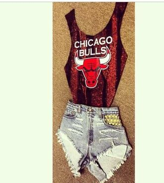swimwear chicago bulls chicago red bodysuit dope high waisted shorts studs studded shorts jeans high waisted jeans black gold studs girl swag shorts