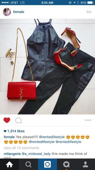 pants black leather