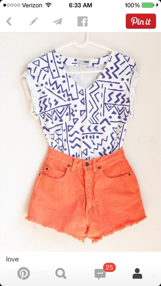 high waisted coral aztec fitted geometric geometric pattern