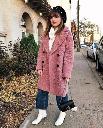 coat tumblr pink coat oversized oversized coat beret hat boots white boots denim jeans cropped jeans bag