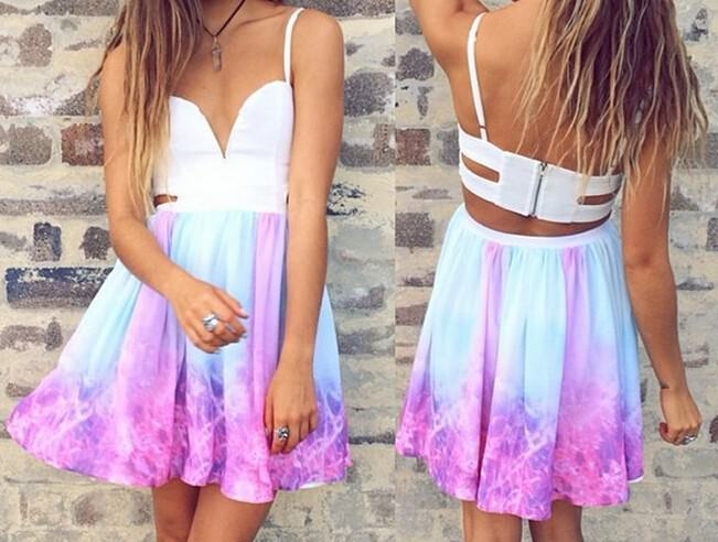 Galaxy cut out abstract print dress
