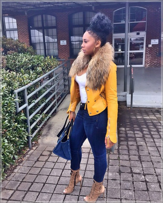 jacket ming lee yellow fur blue leather jacket curly hair shoes