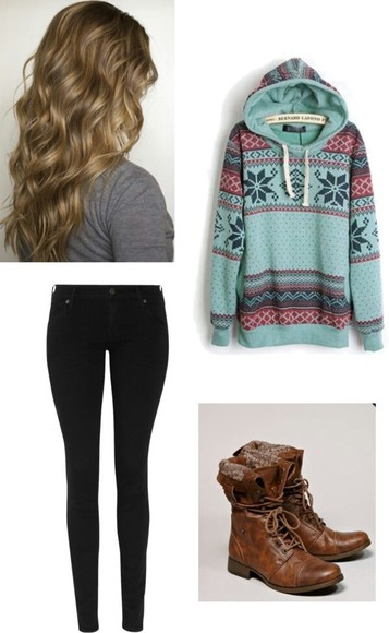 sweater sweatshirt hoodie blue tribal coat fuzzy pants shoes