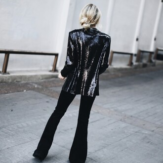 jacket tumblr sequins sequin jacket black blazer blazer pants black pants flare pants
